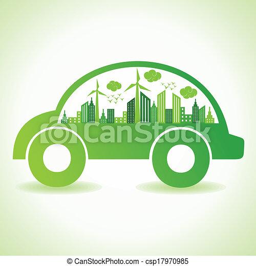 eco, 自動車, 概念, エコロジー - csp17970985