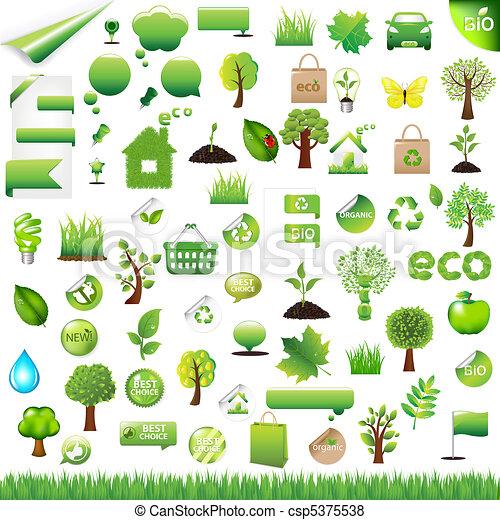 eco, 要素, デザイン, コレクション - csp5375538
