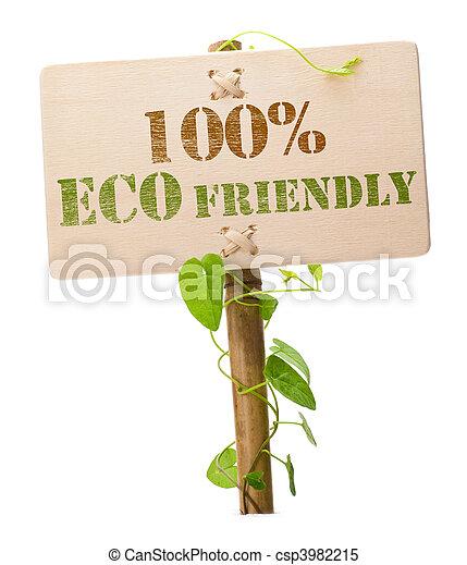 eco, 100%, groene, vriendelijk, meldingsbord - csp3982215