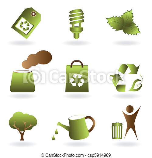 Eco and environment icon set - csp5914969