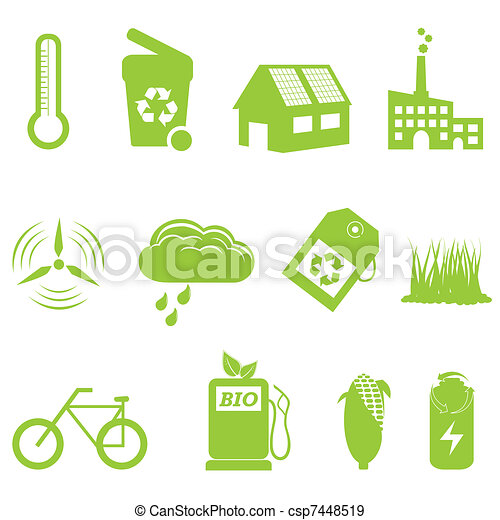 Eco and recycling icon set - csp7448519