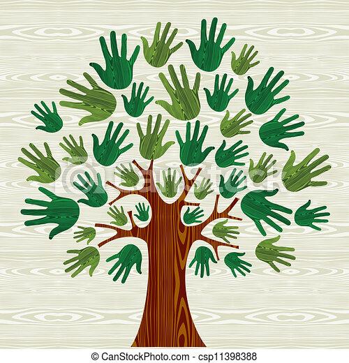 eco, arbre, amical, mains - csp11398388