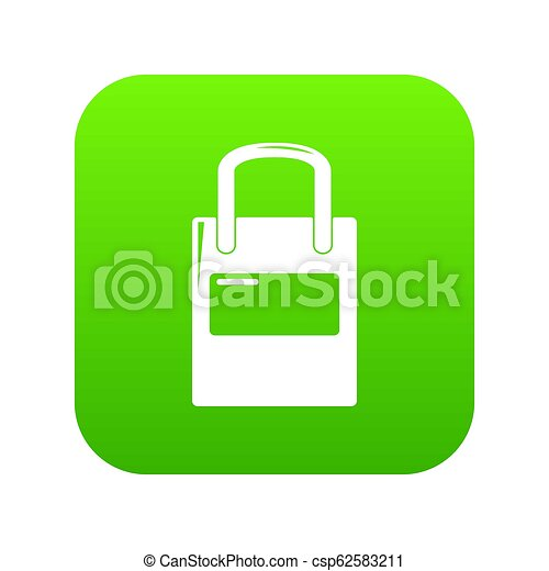 Eco bag icon green - csp62583211