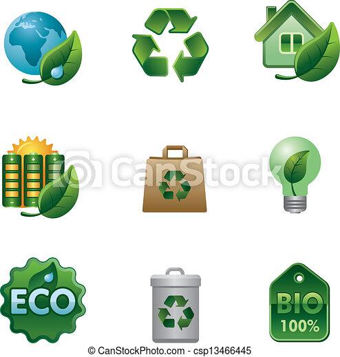 eco, bio, セット, アイコン - csp13466445