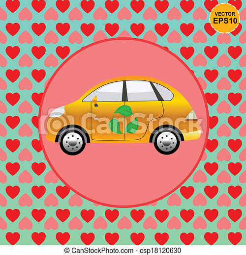 Eco car lover with heart background - csp18120630