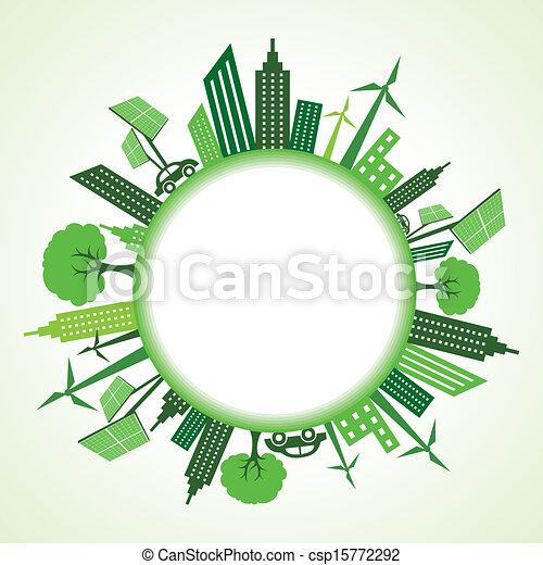 eco, cityscape, círculo, ao redor - csp15772292