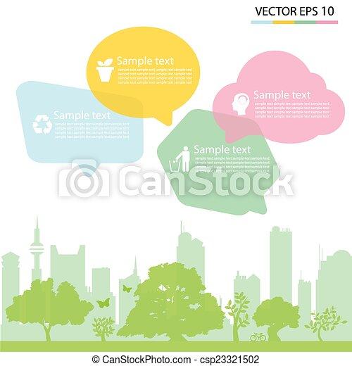 Ciudad ecológica verde, fondo - csp23321502