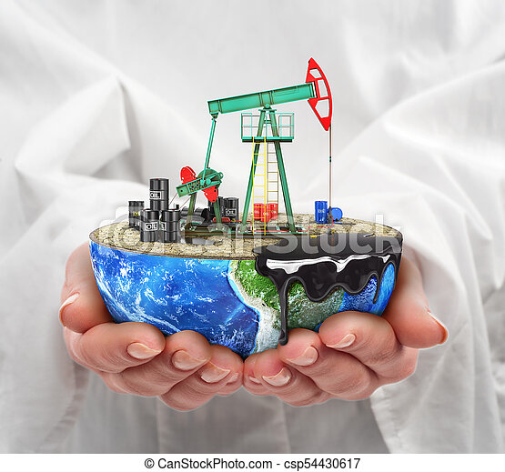 Eco-concept. A cut planet with oil pumpjack in woman's hands isolated on a white background. The concept of natural resource extraction. - csp54430617