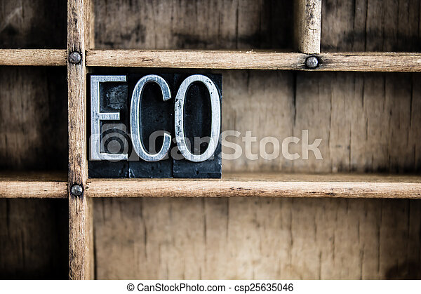Eco Concept Metal Letterpress Word in Drawer - csp25635046