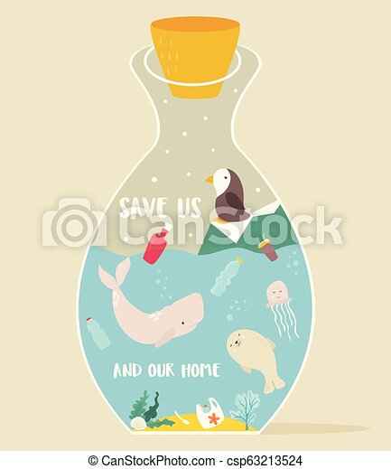Eco concept poster bottle and animals inside. - csp63213524