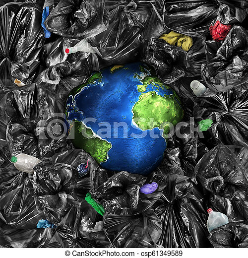Eco concept. The planet is drowning in the garbage. Recycling. Save the planet. - csp61349589