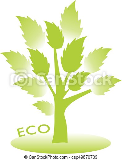 Ecoconcept eco concept. vector trees with green leaves.
