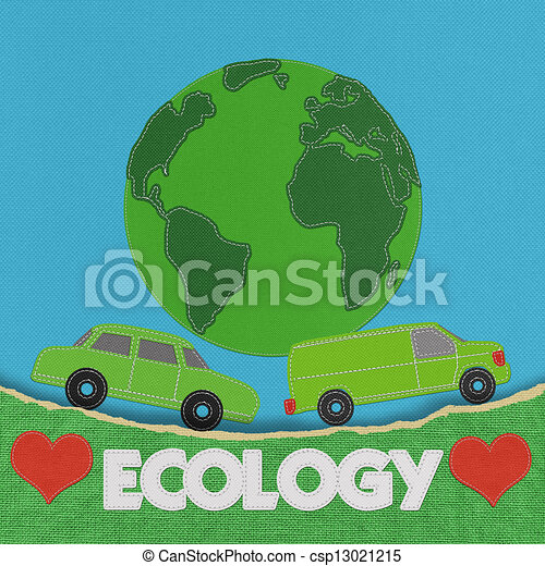 ECO concept with stitch style on fabric background - csp13021215