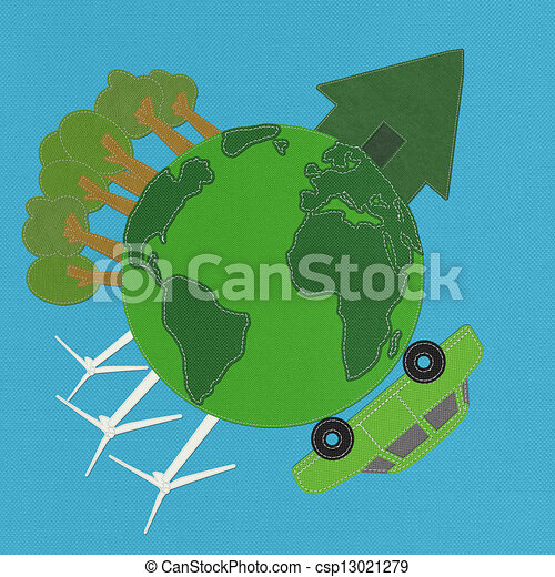 ECO concept with stitch style on fabric background - csp13021279