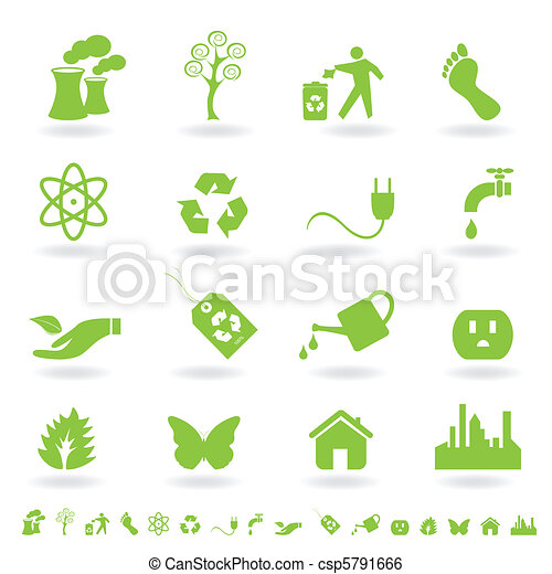 eco, conjunto, verde, icono - csp5791666