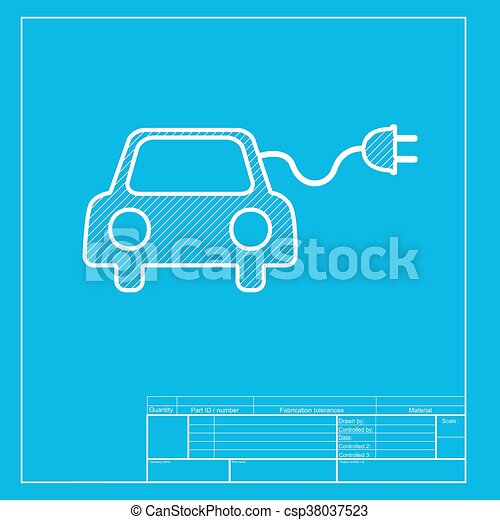 Eco electric car sign white section of icon on blueprint template malvernweather Images