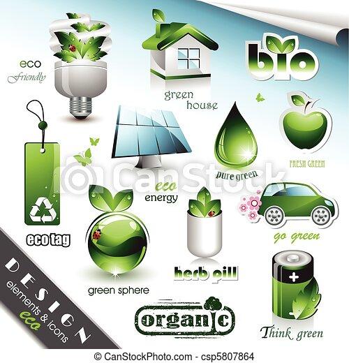 eco, elementos, desenho, ícones - csp5807864