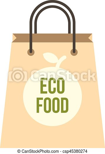 Eco food paper bag icon, flat style - csp45380274