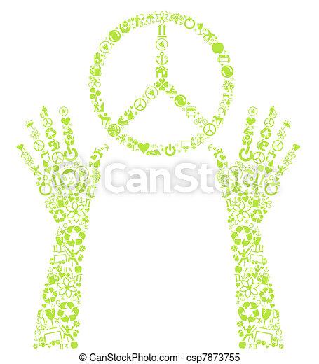 Peace eco Vektor Hintergrundzeichen - csp7873755