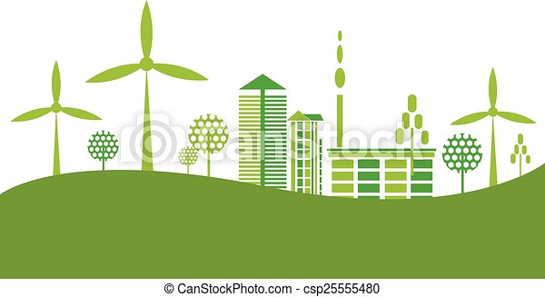 Eco Friendly Green City Background Vector Illustration