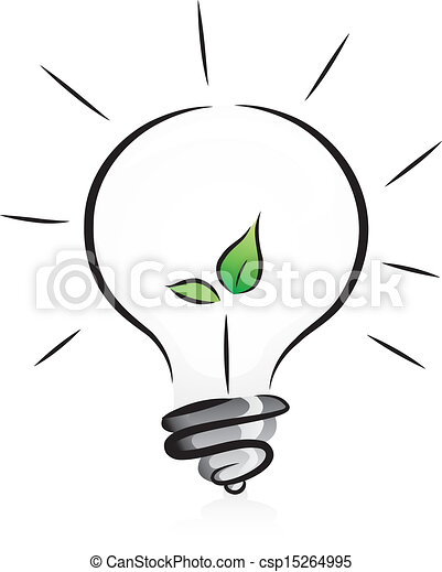 Eco-Friendly Light Bulb with Seedling - csp15264995