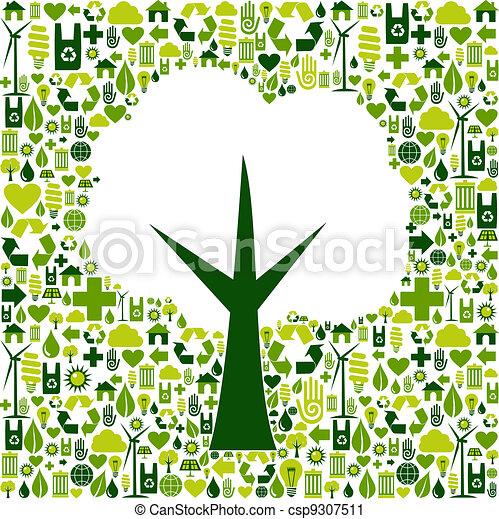 eco, grön, symbol, träd, ikonen - csp9307511