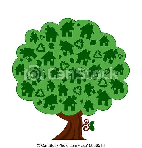 eco, grön, vektor, träd, illustration - csp10886518