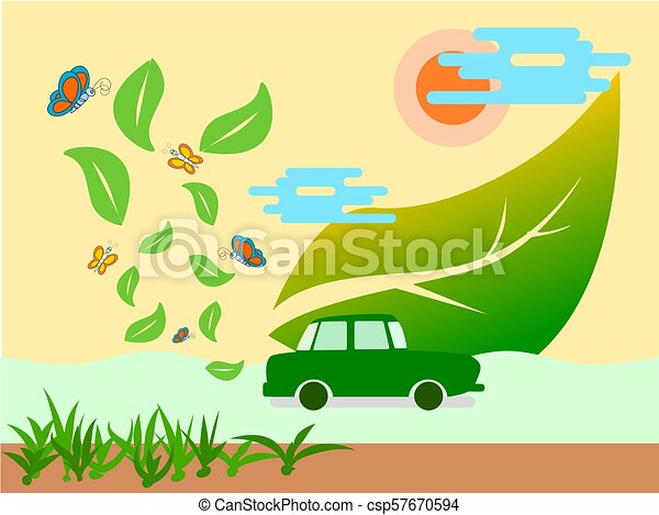 Eco Green Energy Car And Clean Air Concept Save Earth Illustration Vector