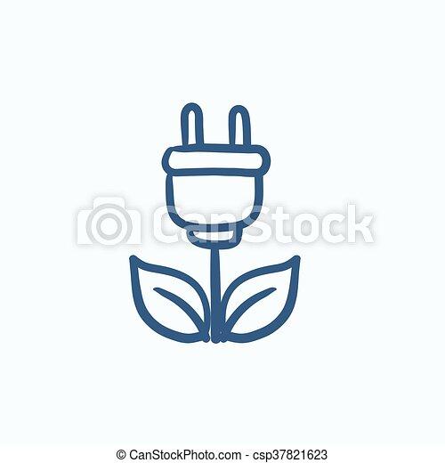 Eco green energy sketch icon. - csp37821623