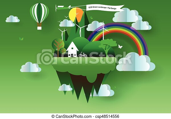 Line Art Vector Illustrator : Eco green landscape flat design vector illustrator clipart