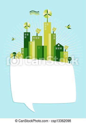 Eco green social media speech bubble - csp13362098