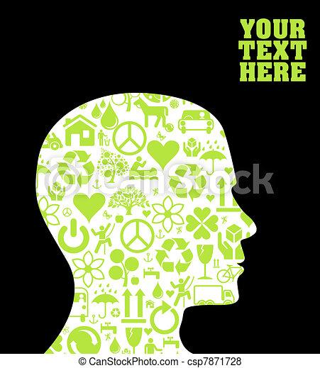 eco, groene, hoofd, silhouette - csp7871728