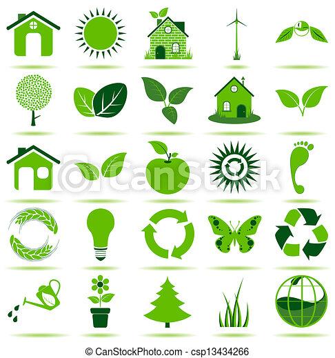 eco, groene, iconen - csp13434266