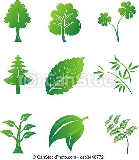 eco, groene, iconen - csp34487721