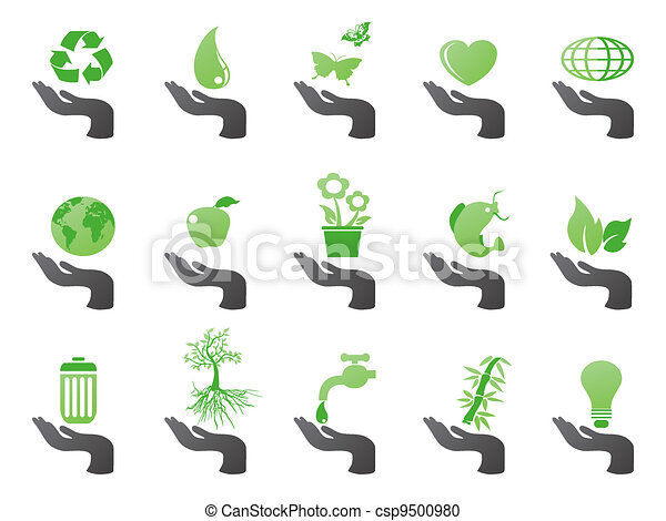 eco, hand, grön, ikonen - csp9500980