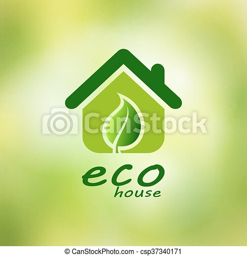 Eco house vector on a green background - csp37340171