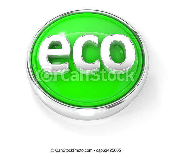 Eco icon on glossy green round button - csp63425005