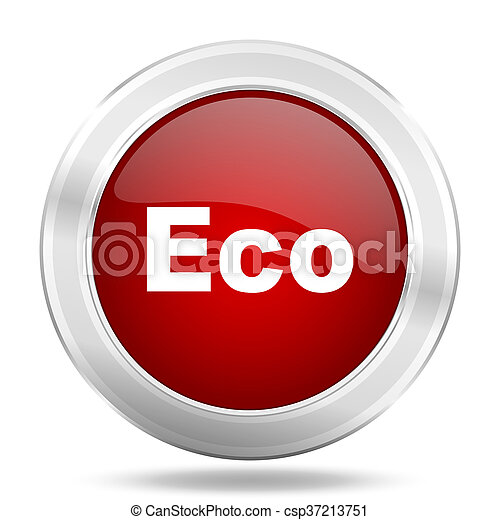 eco icon, red round glossy metallic button, web and mobile app design illustration - csp37213751