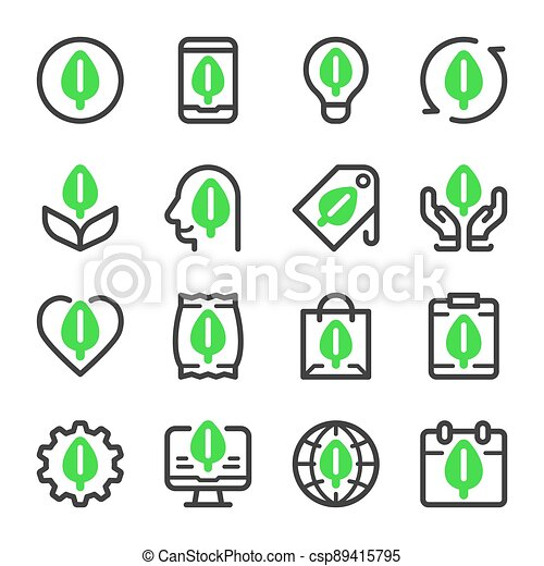 eco icon set - csp89415795