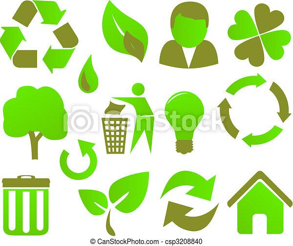 eco icon set green - csp3208840