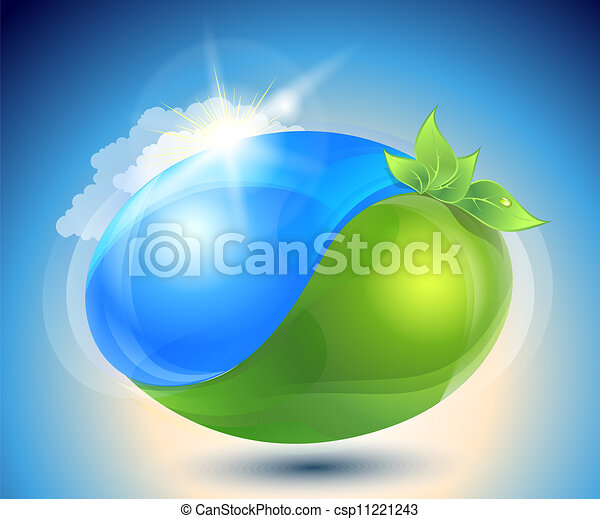 Eco-icon with nature yin-yang  - csp11221243