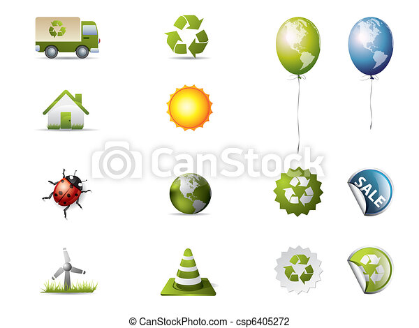 Eco icons isolated on white - csp6405272