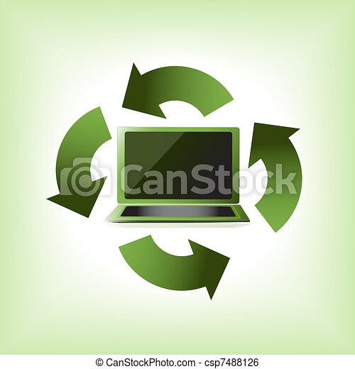 eco, komputer, zielony - csp7488126
