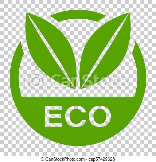 Eco label badge vector icon in flat style  Organic product stamp  illustration on isolated transparent background  Eco natural food concept