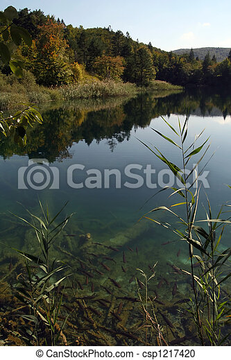 Eco lake in the middle of mountains - csp1217420