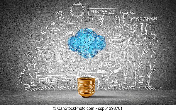Eco innovaciones concepto por medio de bombilla. - csp51393701