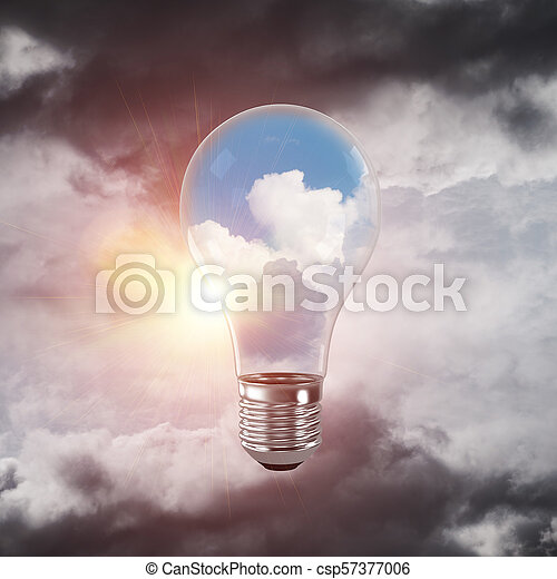 Eco innovaciones concepto por medio de bombilla. - csp57377006