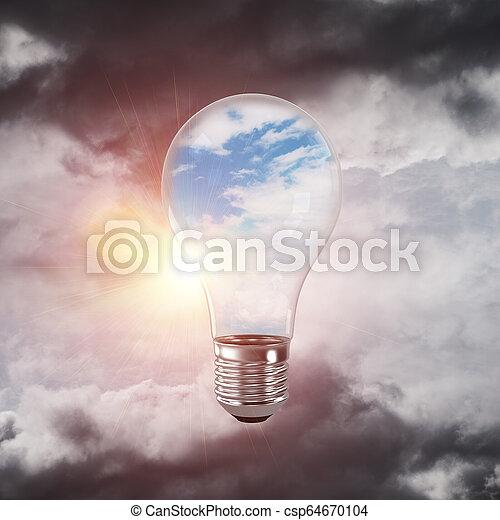 Eco innovaciones concepto por medio de bombilla. - csp64670104