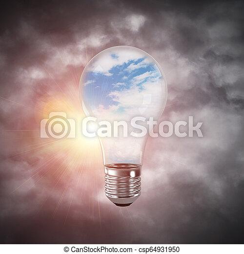 Eco innovaciones concepto por medio de bombilla. - csp64931950