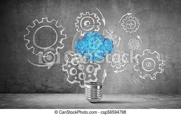 Eco innovaciones concepto por medio de bombilla. - csp56594798